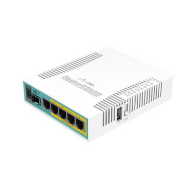 ROUTER MIKROTIK hEX PoE with 800MHz CPU, 128MB RAM, 5x Gigabit LAN (four with PoE out), USB, RouterOS L4, plastic case and PSU