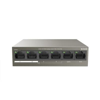 SWITCH TENDA TEF1106P-4-63W 6P LAN DESKTOP 4P FE(PoE)+2P FE(Data+NVR)