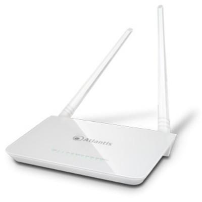 ROUTER ATLANTIS ADSL2+ A02-RA144-W300N+ 300M 802.11n ACCESS POINT SWITCH 4P LAN, 2 ANTENNE da 5dBi