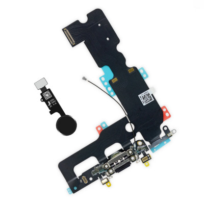 iPhone 7 Plus Lightning Connector + Home Button Black Assembly