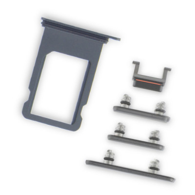 iPhone X Silver Case Button Set + SIM Card Tray