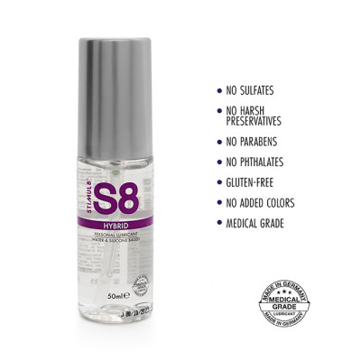 S8 Hybrid Water Silicone Lube 50ml