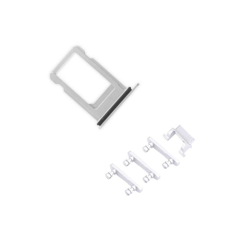 iPhone 7 Silver Case Button Set + SIM Card Tray