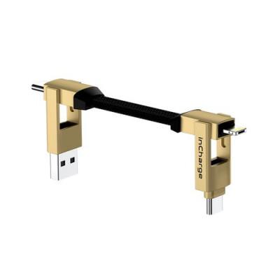 CAVO MULTICONNETTORE ROLLING SQUARE INCHARGE 6 USB-C, Lightning, Micro USB - 6 configurazioni di connessione, Colore SATURN GOLD
