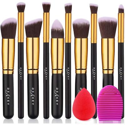 BEAKEY Make Up Brushes Premium synthetic makeup brushes foundation powder blush, eyeshadow, make up brush set, kit with sponge a