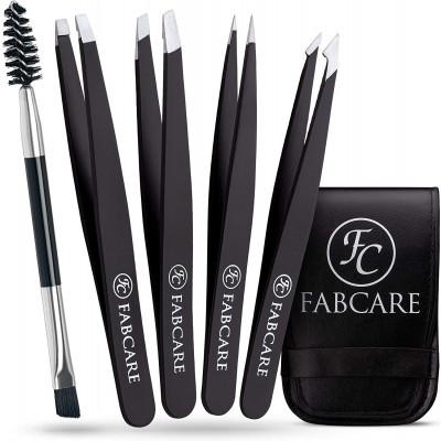 FABCARE Eyebrow tweezers set with case and brush (5 pieces) - improved tip - eyebrow pulling tweezers - eyebrow tweezers