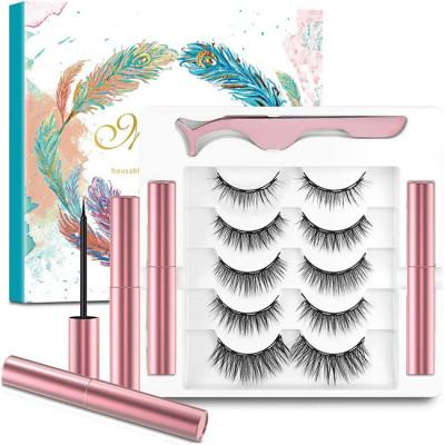 Magnetic Eyeliner and Magnetic Eyelash Kit (5 Pairs), Upgraded 3D Reusable Magnetic Eyelashes Kit False Lashes Natural Look with