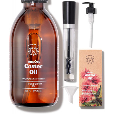 ORGANIC CASTOR OIL | 100% Pure, Natural & Cold Pressed | Lashes, Eyebrows, Body, Hair, Beard, Nails | Vegan & Cruelty Free | Gla
