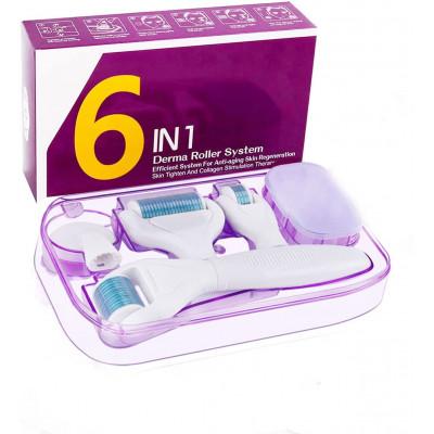 Winpok Dermaroller, 6 in 1 Derma Roller Kit, 12/300 / 720/1200 Needles, Professional Skin Care Beauty, Anti-Aging & Stretch Mark