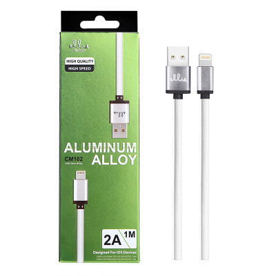 1m EllieTech iPhone Aluminium Charger Cable White 2A High-Speed Compatible with iPhone 12/11/X/XS/XS Max/XR/8/8 Plus/7/7 Plus/6s