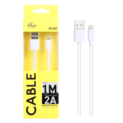 1m EllieTech iPhone Charger Cable White 2A High-Speed Compatible with iPhone 12/11/X/XS/XS Max/XR/8/8 Plus/7/7 Plus/6s/6s Plus/6