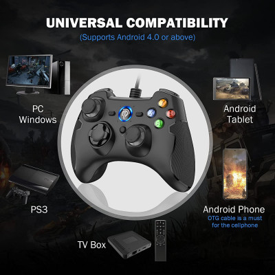 REDSTORM Wired Controller for PC USB Gamepad Controller for PS3 with Double Shock / Turbo Function / High Precision Joystick, Pl
