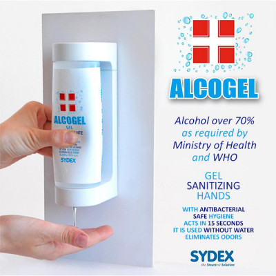 5x Alcoholic Hand Sanitizing Gel 300 ml + WALL SUPPORT
