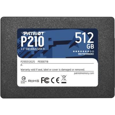 """SSD PATRIOT 512GB P210 2.5"""" SATA3 READ:520MB/WRITE:450 MB/S - P210S512G25 - GAR. 3 ANNI"""