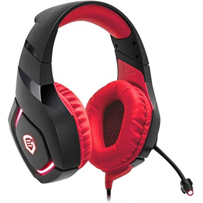 Empire Gaming H1100 – Gaming Headset for PC flexible microphone and earphones with Red LED backlight. USB compatible PC and PS4/