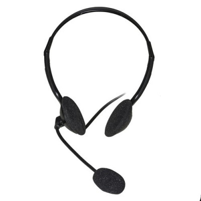 CUFFIA CON MICROFONO ORIENTABILE, CONNETTORE 2 X 3,5 MM E CONTROLLO VOLUME