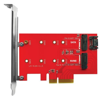 ADATTATORE ATLANTIS A06-M2-DUAL-P4 per install. su PC un SSD M.2/NVME o M.2/SATA dim: 80,60,42,30mm su slot PCIe-4/8/16x